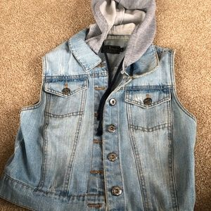 Jackets & Blazers - Jean vest with attached hood